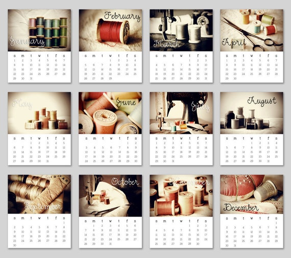 LAST ONE-  2012 Sewing Desk Calendar