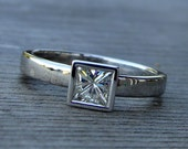 Moissanite Square Princess Cut Solitaire Engagement Ring with Recycled 14k Palladium White Gold, Made to Order