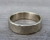 Recycled White Gold Wedding Band / Ring, 14k, Eco-Friendly, Hammered / Matte / Brushed, 7mm Wide, Mens or Womens, Made to Order