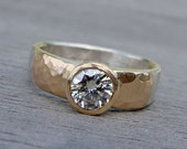 Moissanite, Recycled 14k Yellow Gold, and Recycled Palladium Sterling Silver Wedding or Engagement Ring - Matte / Hammered, Made To Order