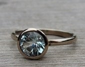 Afghan Tourmaline and Recycled 14k Palladium White Gold Ring, Size 7.5