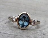 Fair Trade Sapphire, Moissanite, and Recycled 14k White Gold Three-Stone Wedding or Engagement Ring, size 7.5