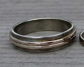 Recycled Sterling Silver and 14k White Gold Wedding Band, Made to Order