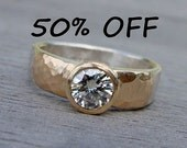 CLEARANCE - Moissanite, Recycled 14k Yellow Gold, and Recycled Palladium Sterling Silver Wedding Ring, size 7