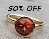 CLEARANCE - Oregon Sunstone and Recycled 14k Yellow Gold Ring, size 8