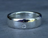 Wedding Band - Moissanite and Recycled Palladium Sterling Silver, Made to Order