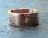 RESERVED for sregdor - CLEARANCE - Moissanite and Recycled Rose Gold Ring, Size 6.5