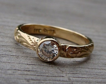 Delicate Moissanite and Recycled 14k Gold Ring, Scroll Patterned, Diamond Alternative Engagement/Wedding Ring, Made To Order
