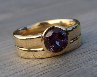 Engagement Ring and Wedding Band Set - Color-Change Chatham Lab-Created Alexandrite and Recycled 14k Gold, Made to Order