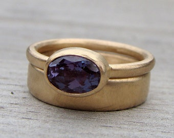 Wedding Band & Engagement Ring Set - Color-Change Chatham Lab-Created Alexandrite and Recycled 14k Gold Rings, Made to Order