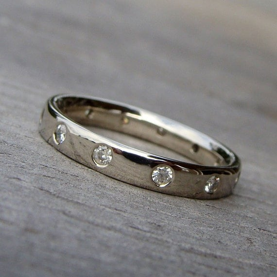 Moissanite and Recycled 14k White Gold Wedding Ring or Stacking Band, Made To Order