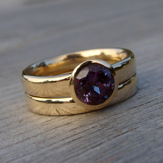 engagement ring and wedding band set color change chatham