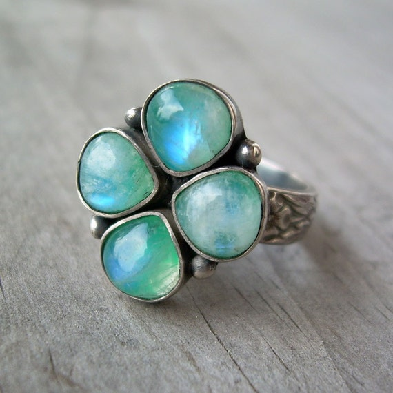 Four Leaf Clover Ring, Rainbow Moonstone and Sterling Silver, size 8