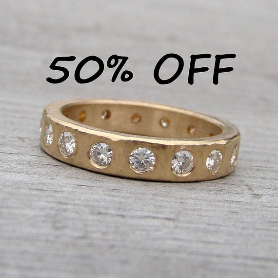 CLEARANCE - Stunning Moissanite and Recycled 14k Yellow Gold Ring, size 7