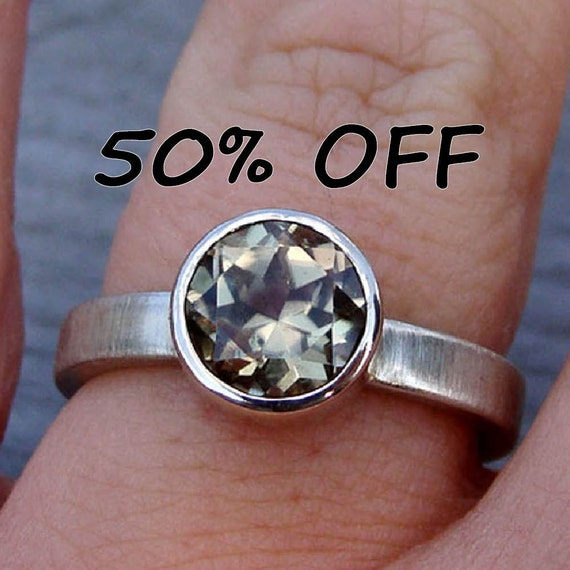 RESERVED - CLEARANCE - Fair Trade Zultanite and Recycled 14k White Gold Ring, size 8