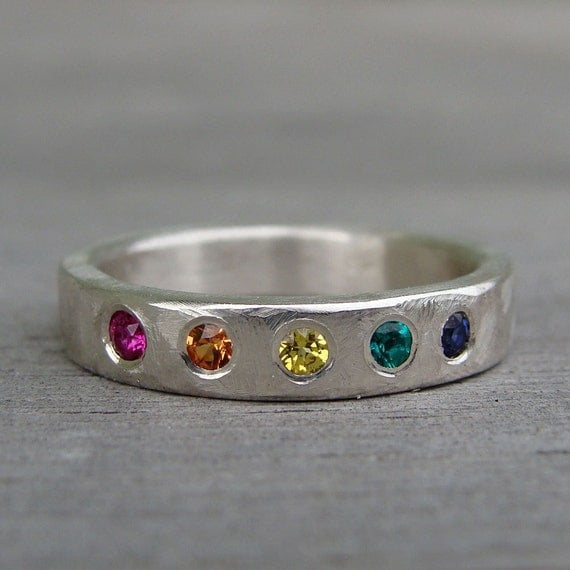 CLEARANCE - Rainbow Ring / Wedding Band - Ruby, Sapphire, Emerald, and Recycled Palladium Sterling Silver, Colorful Stacking Ring, size 7