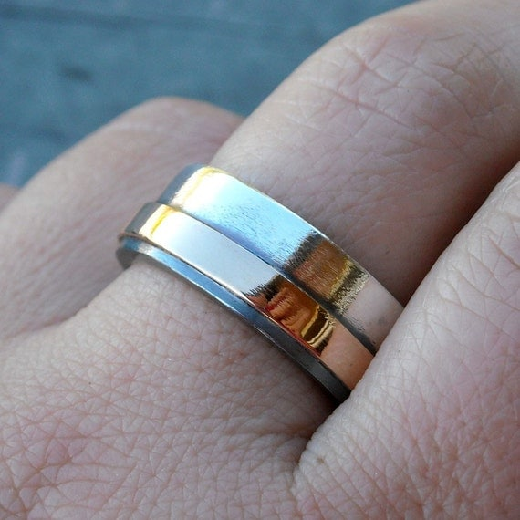 Recycled Sterling Silver and 14k Gold Wedding Band