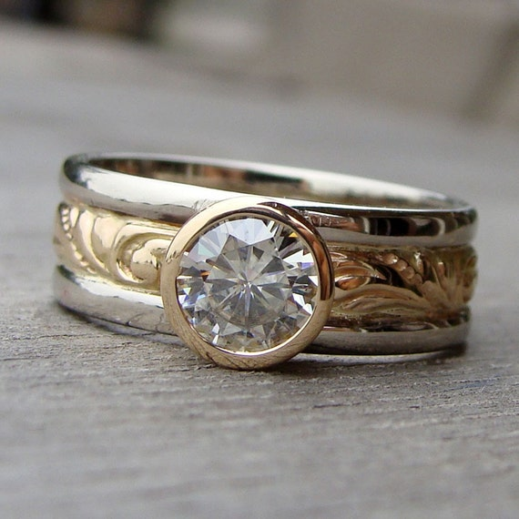 SAMPLE SALE Moissanite Recycled 14k Yellow Gold and