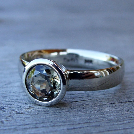 fair trade zultanite and recycled 14k white gold ring size 7