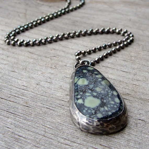 SALE - Incredible Nevada Variscite Necklace, Sterling Silver