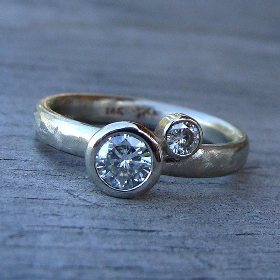 Tiny Bubbles - Moissanite Ring with Recycled 14k White Gold