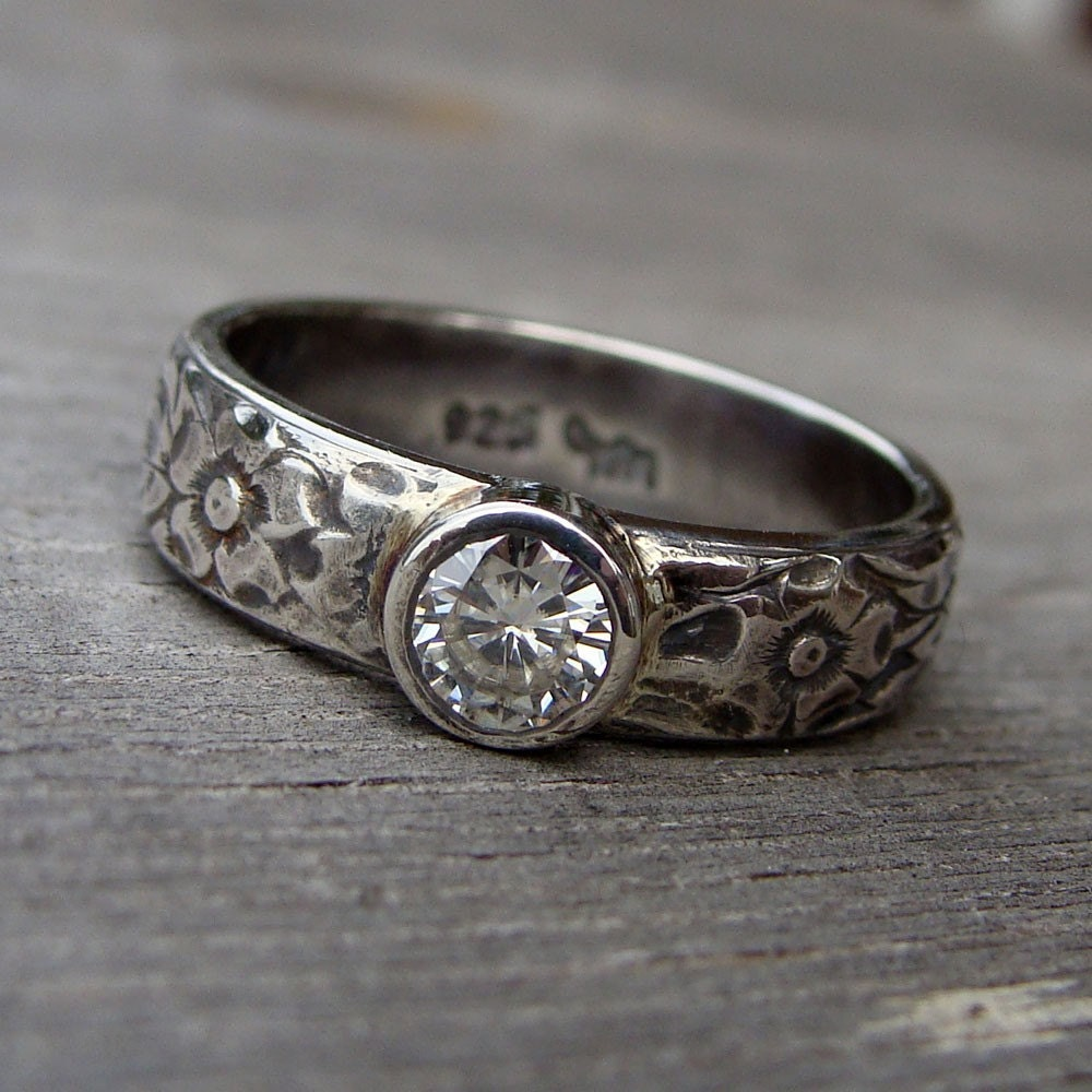 moissanite and recycled sterling silver ring