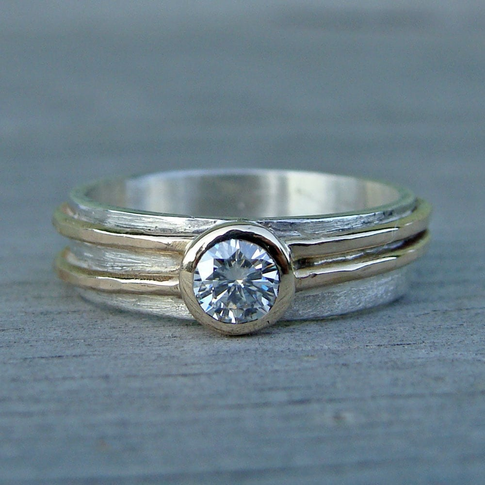 Moissanite Engagement Or Wedding Ring With Recycled 14k Yellow