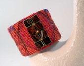 Bracelet Cuff Bright Bold Colors Vintage Bedouin Textile Handmade Jewelry Southwestern Style SALE