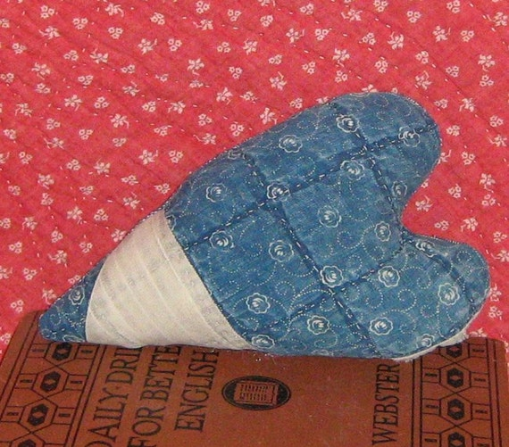 Heart made from Antique Quilt - Cupboard Tuck Bowl Filler - Indigo Blue and White