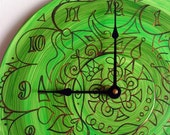 Green Maelstrom Mandala Record Clock - Tribal Inspired Geometric Design on Recycled Vinyl Record