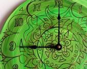 Green Maelstrom Mandala Record Clock - Psychedelic Geometric Design on Recycled Vinyl Record