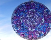 Flurry Mandala Suncatcher - Purple Blue White Pink Geometric Design - Original Psychedelic Art - Bohemian Home Decor
