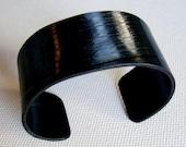 Basic Black Record Cuff Bracelet. Size S/M. Rock and Roll Jewelry. Vinyl Record Cuff. Retro Rockabilly Music Themed Jewelry