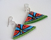 Boho Earrings in Red Blue and Green - Tribal Inspired Geometric Design Made From Recycled Records