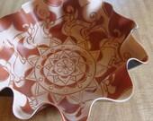Mandala Record Bowl in Copper Brown