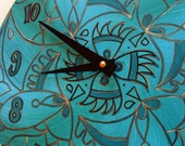 Wicked Clock in Turquoise - Psychedelic Geometric Mandala Hand Painted on Recycled Vinyl Record