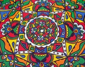 Primary Colors  -  Original Mandala Painting on Recycled Vinyl Record
