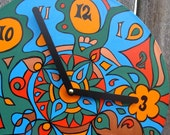 Earthy Clock - Psychedelic Geometric Design in Green / Blue / Orange Made From Recycled Vinyl Record
