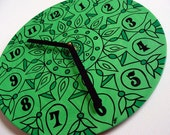 Vibrant Green Mandala Record Clock  -  made from recycled vinyl record - as seen in Glamour Magazine