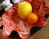 Sienna Mandala Record Bowl - Geometric Design on Recycled Vinyl Record - Orange Bohemian Decor