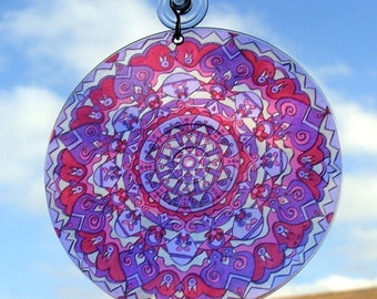 Purple Owls Mandala Suncatcher - Bohemian Home Decor - Purple and Pink Psychedelic Hippie Art - Geometric Design
