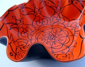 Orange Flip Mandala Record Bowl - Psychedelic Geometric Hand Painted Home Decor Made From Recycled Vinyl Record