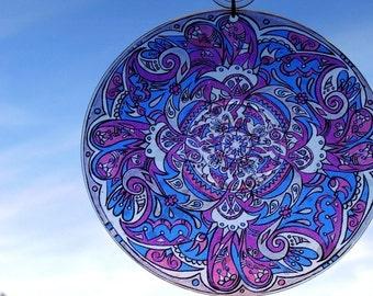 Flurry Mandala Suncatcher - Purple Blue White Pink Geometric Design - Original Psychedelic Art - Bohemian Home Decor