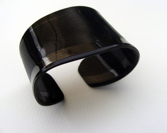 Basic Black Classic  - a Recycled Vinyl Record Cuff Bracelet