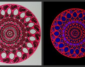 Custom Black Light Turntable Art in Ultraviolet Pink and Purple. Mandala Painting on Vinyl Record