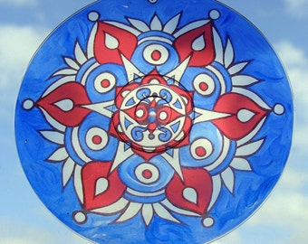 Americana Mandala Suncatcher - Original Psychedelic Art - Geometric Meditation Mandala - Bohemian Home Decor in Red White and Blue