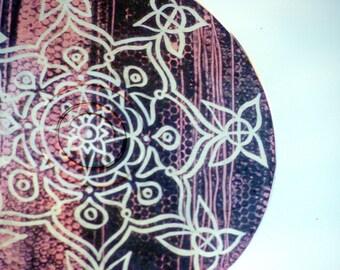 Pink Snakeskin Mandala Suncatcher - Psychedelic Geometric Bohemian Home Decor