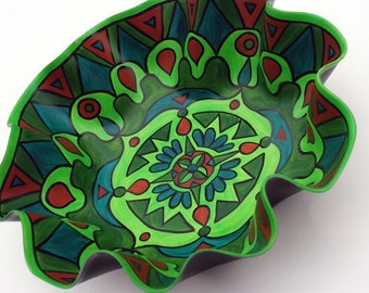 Treehugger Green Bowl - Psychedelic Mandala Painted on Recycled Vinyl Record - Sacred Geometry  - Eco Friendly Home Decor