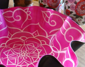 Rose Mandala Record Bowl - Bohemian Decor in Pink and White - Psychedelic Geometric Home