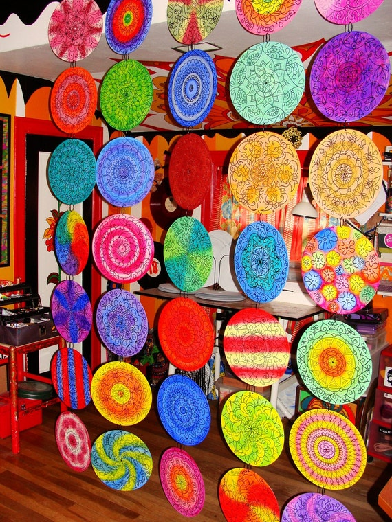 Custom Mandala Room Divider made from 35 Painted Vinyl Records - Tribal Inspired Geometry